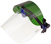"8"" x 15 1/2"" x 0.060"" QuickView™ Flip Front Face Shield with 4"" Shade 3 Green Flip Front Shield and CB2-HD Cap Bracket (QV9GS3-2)"